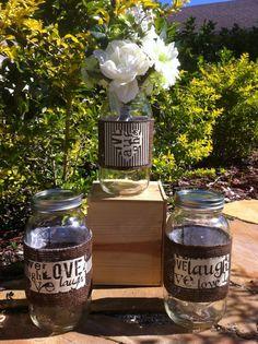 Live, laugh, love burlap bands for around mason jars.