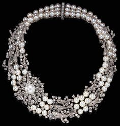 THE PINES OF ROME, COMPOSED BY OTTORINI RESPIGHI   A DIAMOND AND CULTURED PEARL NECKLACE, BY MIKIMOTO  The triple-strand necklace composed of ninety-two cultured pearls, measuring approximately 9.00 mm, spaced by pavé-set diamond whales, enhanced by cabochon sapphire eyes, and circular-cut diamond 'bubbles,' centering upon a circular-cut diamond 'supernova' set with a cultured south sea pearl measuring approximately 15.90 mm, mounted in platinum,   Signed Mikimoto  Signed Disney