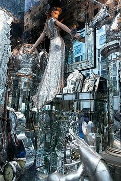 bergdorf window 2009- love the mirrors and ice colors