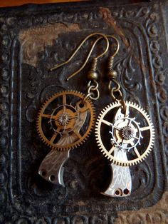 Watch part earrings - Archaic - Steampunk Earrings - Repurposed art - Featured in Jewelry Affaire Magazine Oct. 2012.