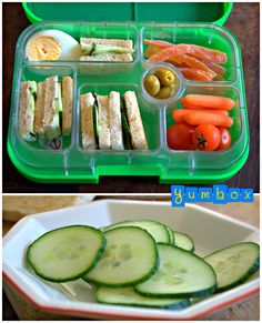 Cucumber Tea Sandwiches with cream cheese. Simple, easy, tasty and healthy packed lunch for kids! In this Yumbox you will also find an egg, tuna stuffed olives, baby carrots, tomatoes and dried papaya for a dessert. A lunch like this takes less than 5 minutes to prepare!