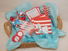 NEW Dr Seuss Birthday Party to Go - party hat, banner, straws, cupcake toppers, favor tags, more!  by shoplissy, $48.50 www.shoplissy.etsy.com