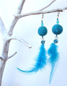 Felt and Feather Earrings - Funky dangle earrings with felted balls, glass beads and feathers in blue.