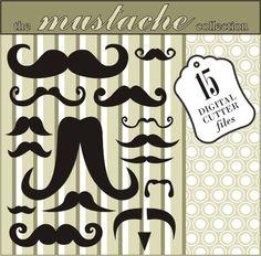 Mustache Digital Cutter Files - SVG, DXF, GSD (plus ai, png & jpg). $3.00, via Etsy.