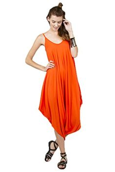 Solid Color Ladies Spaghetti Strap Loose Fit Harem Jumper Multi Color Available,Orange - http://our-shopping-store.com