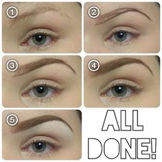 """eyebrow tutorial 1. Brush hairs into shape with a spoolie. 2. Define the bottom and """"tail"""" of your brow with a cream liner. (Used ELF's cream liner in """"Coffee"""".) 2. Lightly fill in your brow with a shadow that goes with your hair color. (2 shades darker if you have light hair, 2 shades lighter if you have dark hair- I used """"Buck"""" byUrbanDecay.) Use less nea"""