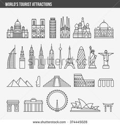 Flat line design style vector illustration icons set and logos of top tourist at. - Flat line design style vector illustration icons set and logos of top tourist attractions, historic - Line Design, Icon Design, Web Design, Design Art, Logos Online, Skyline Silhouette, Travel Icon, Line Illustration, Trendy Tattoos