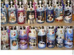 Купить шампанское Веселый снеговик - ручная работа, подарок, Новый Год, шампанское, Декупаж