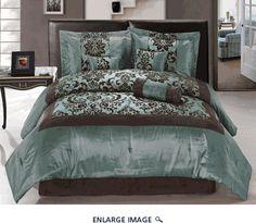 $69; 7 piece Queen Aqua and Coffee comforter set; kinglinen.com