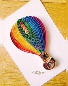 shop: Rainbow Dream Quilled Paper Art-Paper Wall Art Hot Air Balloon-Unique Gift-Handmade Hot Air Ballon-Kids Room Decor-Nursery Decor-Wedding Gif Excited to share this item from my Ideas Quilling, Paper Quilling Patterns, Quilling Paper Craft, Paper Crafts Origami, Origami Art, Paper Quilling For Beginners, Quilling Techniques, Quilled Paper Art, Paper Wall Art