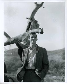 Anthony Perkins between takes filming the swamp scene in 'Psycho'.