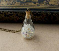 Bubble Jug Bottle Charm Pendant. Glass Vial by AllsortsBazaar.  $3.00 off code: PIZZA10
