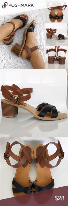 """Tan and Black Block Heel Sandals Tan and Black Block Heel Sandals! Excellent condition. Worn one time. Wear with shorts or skinny jeans. 2.5"""" block heel. Adjustable ankle strap. Size 10. bamboo Shoes Sandals"""