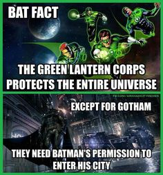 Bat fact 1: unless Hal and his Lantern Corps wanted to be treated \'specially\' like other Arkham inmates, then they are welcome to fly into Gotham\'s Blackgate...