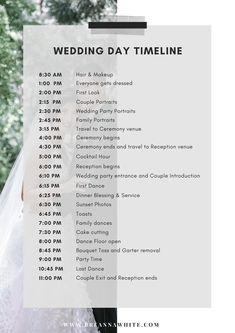 Wedding Timeline - I always tell my brides to create a wedding day timeline as it helps to keep everyone, (especially - Wedding Planning Quotes, Wedding Planning Binder, Wedding Schedule, Wedding Planning On A Budget, Wedding Day Timeline, Budget Wedding, Wedding Checklist Detailed, Wedding Checklists, Wedding Coordinator Checklist