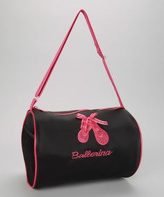 Black & Pink Sparkle Ballet Shoe Duffle Bag