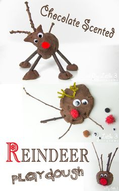 CHOCOLATE SCENTED REINDEER PLAY DOUGH is such a fun Christmas sensory play activity for kids. This no-cook play dough recipe is easy to make and so fun. Add sticks, eyes and red noses for an adorable reindeer craft session. Christmas Activities For Kids, Preschool Christmas, Craft Activities, Christmas Themes, Play Activity, Preschool Classroom, Toddler Activities, Simple Christmas, Winter Christmas