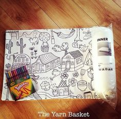 Colour Your Own Pillow Kit Includes: handmade cushion cover Cushioned Inner High Quality Fabric Crayons Basket, Bullet Journal, Kit, Pillows, Crochet, Handmade Gifts, Cottage, Colour, Etsy