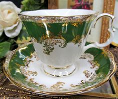 ROYAL ALBERT TEA CUP AND SAUCER REGINA SERIES EMERALD  PATTERN TEACUP:)