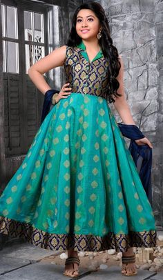 Sturning Sky Blue Color Banarasi Jecard Party Wear Girls Salwar Kameez. you are able to see some intriguing patterns completed with machine work and hand work. comes matching dupatta and matching churidar.