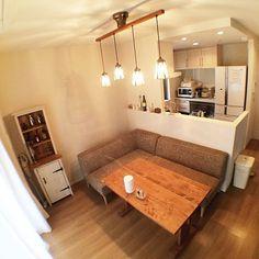 Eero Saarinen's Miller Residence :: Conversation Pit Kitchen Dinning, Home Decor Kitchen, Kitchen Interior, Home Kitchens, Apartment Interior, Interior Design Living Room, Muji Haus, Dining Sofa, Dinning Table