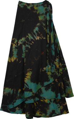 Roma Bohemian Wrap Around Long Skirt Hippie Style, My Style, Boho Hippie, Hippie Skirts, Wrap Around Skirt, Black Tie Dye, Bohemian Look, Tie Dye Patterns, Modest Outfits