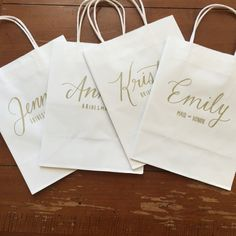 These hand-lettered, personalized gift bags with name and wedding role are perfect for your bridal party gifts! This listing is for one white bag
