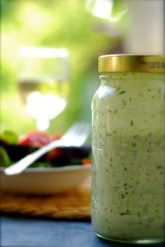 pin it try later~ herb garden salad dressing ~  3/4 cup mayonnaise  1/4 cup sour cream or greek yogurt  juice of one lemon  1/3 cup freshly grated Parmesan cheese  1/4 cup chopped, fresh parsley  1/4 cup chopped, fresh oregano  2 Tablespoons chopped, fresh chives  1 clove garlic  salt and freshly ground pepper to taste  Place all in the bowl of a food processor and blend until smooth and creamy. This dressing will keep in the refrigerator for a week.