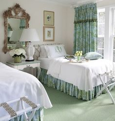 Custom window curtains and bedding in aqua and green toile, Custom made curtains, Pinch pleated drapes, Pleated curtains, Curtain panels How To Make Curtains, How To Make Bed, Dust Ruffle, Ruffles, Pleated Curtains, Window Curtains, Curtain Panels, Shower Curtains, Toile Curtains