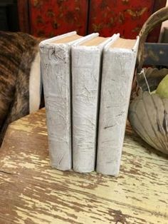 Set of Three Parchment Books   $24  Grace Designs Booth #333  City View Antique Mall  6830 Walling Lane Dallas, TX 75231  Like us on Facebook: https://www.facebook.com/pages/Grace-Designs/1