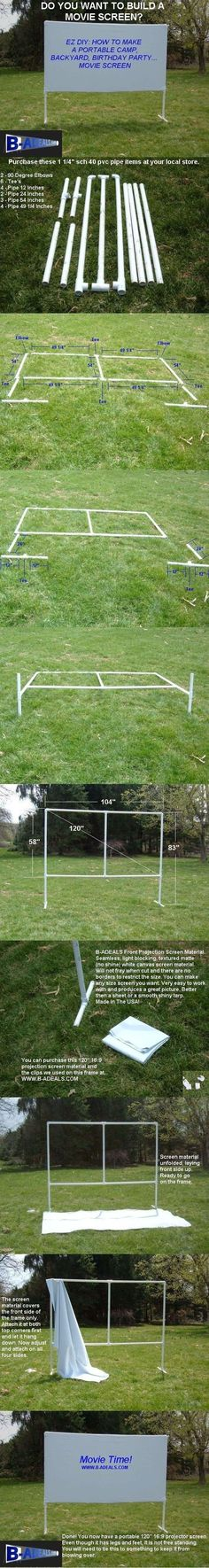 Backyard Movie Theater Outdoor Movie Night. Free DIY Projection Screen Frame Instructions from www.b-aDeals.com