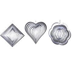 Hanging Metal Garden Stainless Steel Wind Spinners Diamond Flower Heart Set of 3 Wind Spinners, Heart Shaped Diamond, Diamond Flower, Garden Ornaments, Suncatchers, Heart Shapes, Flowers, Mobiles, Accessories