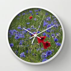 Cornflower Field with Poppies Impression Wall Clock by Tanja Riedel - $30.00