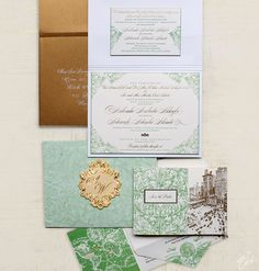 Azie and Wale Ornate Wedding Invitations by Ceci New York