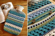 Crocheted hot water bottle cover - pattern available on Ravelry for £3