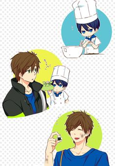 Free! ES ~~ When the chibi chef makes you a bento, you get adorable little rice balls :: Haruka and Makoto by「うゆゆ」