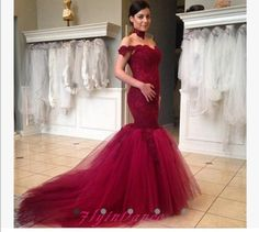 2016 Prom Dress Mermaid Off The Shoulder Lace Dark Burgundy Evening Gowns Modest Tulle Wine Red Party Dresses For Teens