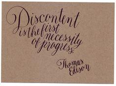 thomas edison quote. calligraphy.