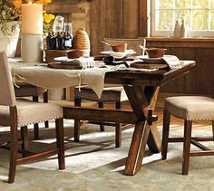 I walked into Pottery Barn one day and this dining room set called to me. I had to literally stop myself from throwing myself on top of it and hugging it. Heavy wood with character and weight.  Simply. Heavenly.