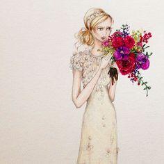 little peek at a new bridal illustration.
