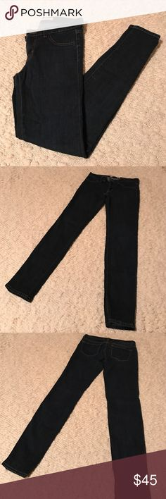 """J Brand Super Skinny Starless Wash Jean 27 EUC!!! Dark wash, Super Skinny J Brand jeans!! Very, very small pick found on back thigh of left leg (in last photo under tags). No other flaws found. Faux front pockets. 29"""" inseam. 98% cotton 2% elastane. J Brand Jeans Skinny"""