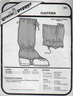 Pattern for gaiters
