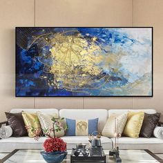 Wall art pictures handmade painting on canvas gold lines blue picture gold art acrylic texture decorative abstract wall painting