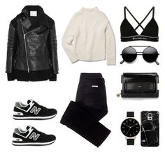 Leather Jacket + Sneakers by fashionlandscape on Polyvore featuring Mode, Theory, Sacai, sass & bide, T By Alexander Wang, New Balance, Chloé, Olivia Burton and Casetify