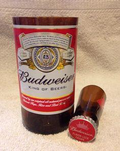 Budweiser Beer Bottle Shot Glass Chaser Set. Recycled Glass Bottle. Man Cave.