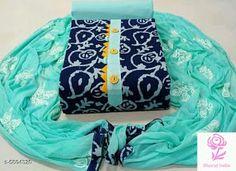 Trendy Cotton Printed Dress Material With Dupatta by Veenapani - Online shopping for Unstitched Dress Material on MyShopPrime - Dress Neck Designs, Bridal Blouse Designs, Silk Anarkali Suits, Salwar Suits, Cotton Anarkali, Patiala Suit, Churidhar Designs, Punjabi Suits Designer Boutique, Long Dress Fashion