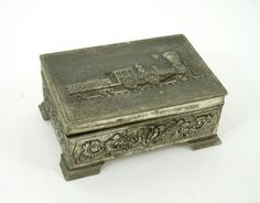 Vintage Train Cigarette Box Silverplated with Embossed Locomotive