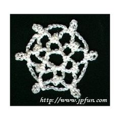 Snowflake One of 10 Mini Snowflakes - A free Crochet pattern from jpfun.com.
