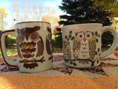 Set of 2 Vintage Owl Coffee Mugs 1970's  by VintageRoseandLace