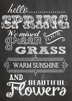 Hello Spring  Free Chalk Board Printable - 5x7
